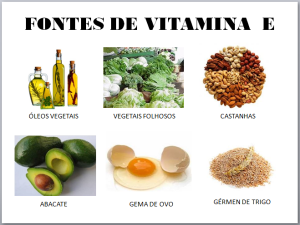 Alimentos ricos em vitamina E, como óleos vegetais e ovos.
